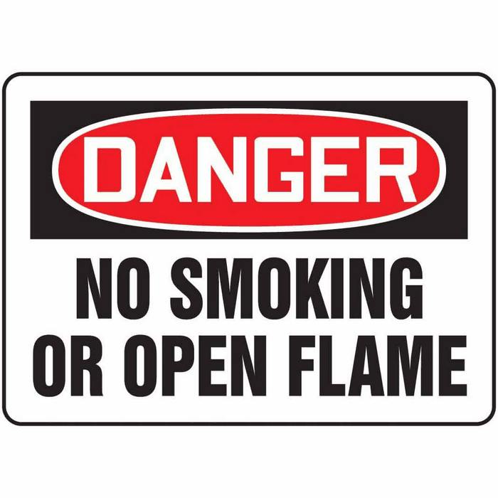 Safety Sign Danger No Smoking Or Open Flame 10 X 14 Plastic