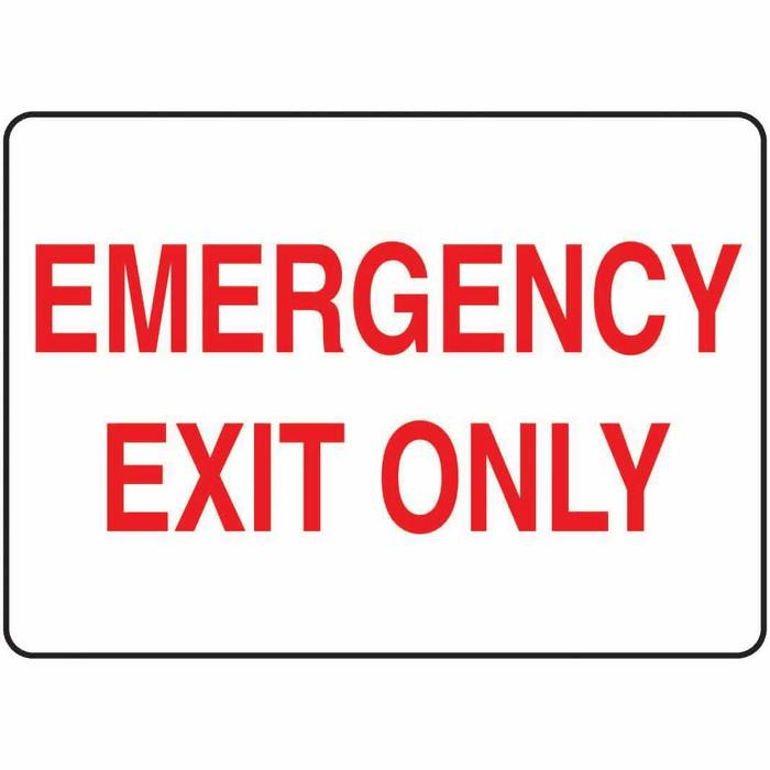 Safety Sign Emergency Exit Only red white 7 X 10 Plastic ...