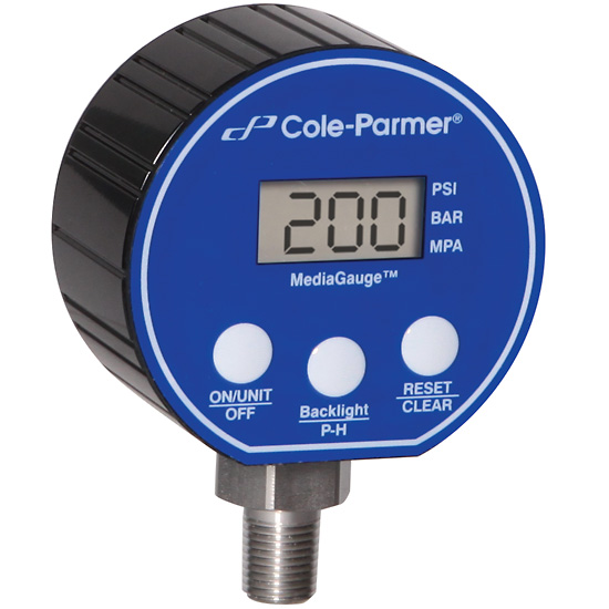 Cole-Parmer Digital Pressure Gauge, 0-30 psi, 3